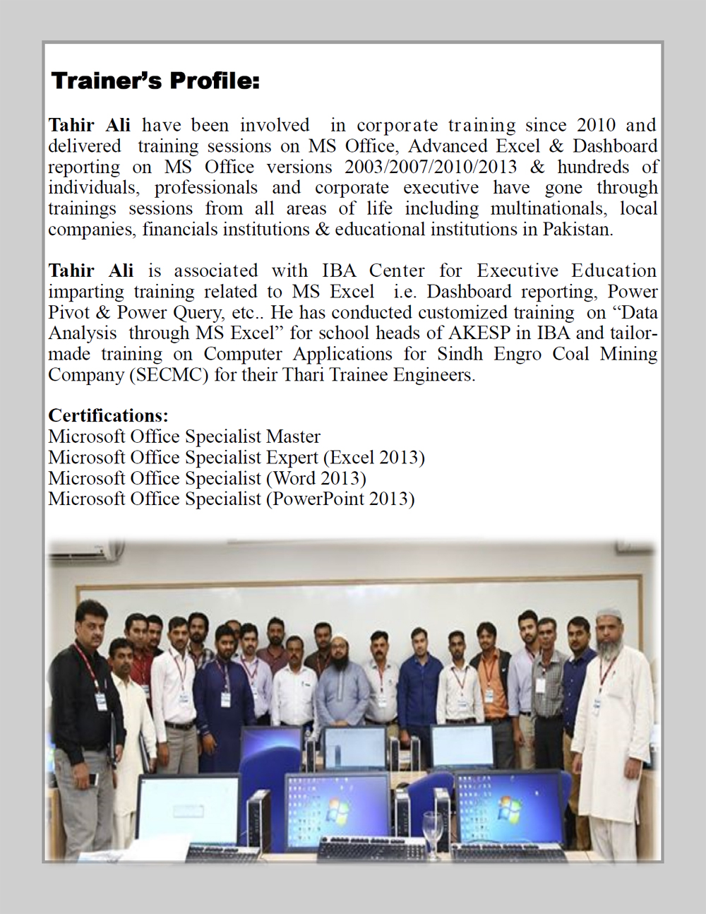 MS Excel Packages