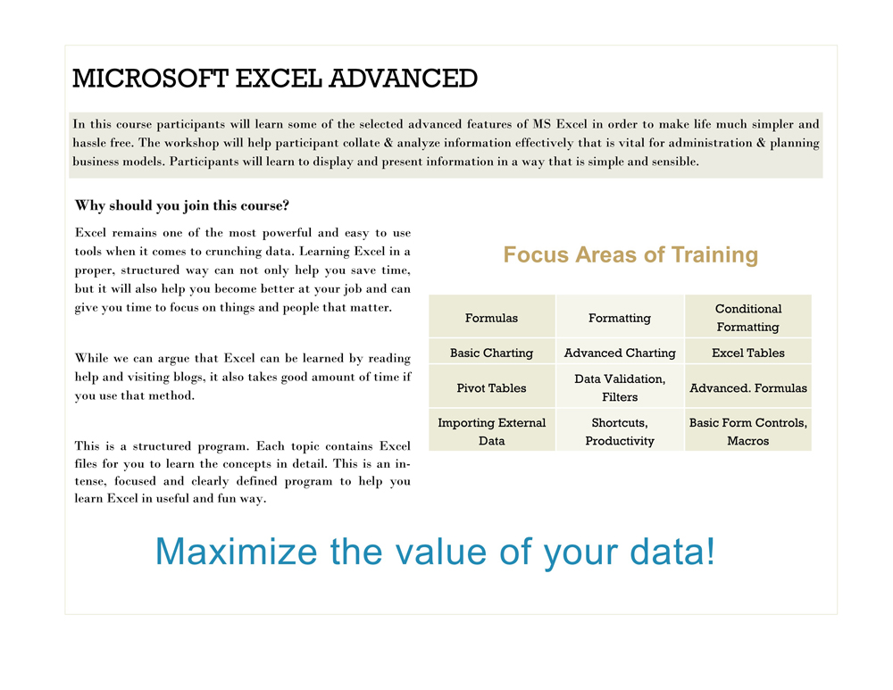 Microsoft Excel Fantastic 5 Package Series